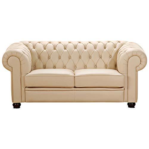 Max Winzer® Sofa 2-Sitzer Chandler, beige, Kunstleder, Couch, Chesterfield, 172 x 98 x 76 cm