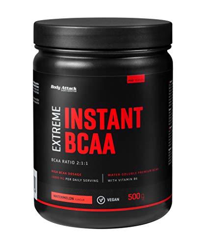 Body Attack - Extreme Instant BCAA Pulver, 500 g für 38 Shakes mit 10000 mg BCAAs, lecker, sofort löslich, vegan, BCAA-Verhältnis 2:1:1 (L-Leucin : L-Valin : L-Isoleucin), Made in Germany, Watermelon