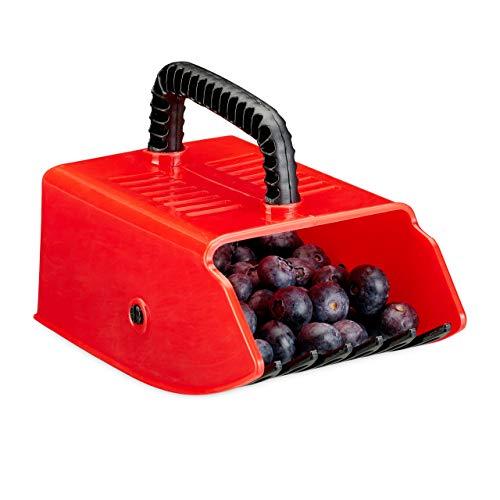 Relaxdays, rot/schwarz Beerenpflücker, Erntehelfer, Kunststoff, für Heidelbeeren, Johannisbeeren, Blaubeeren, Beerenkamm
