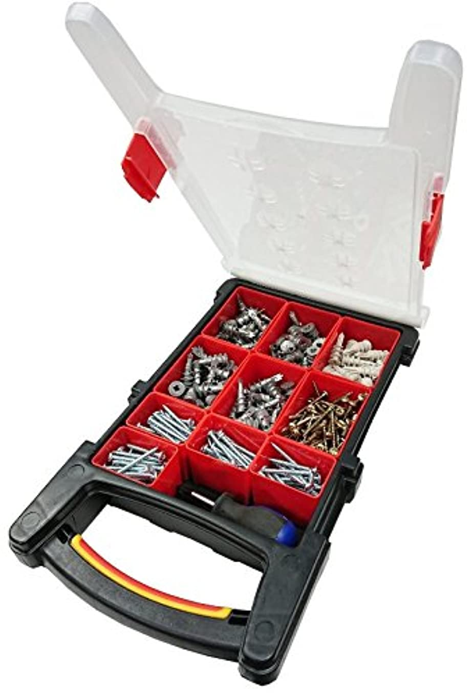 Bulk Hardware BH06619 Assortment of Redi-Driva Cavity Fixings, Hollow Wall Anchors, Screws & 38mm Screwdriver in a 12 Compartment Carry Case.