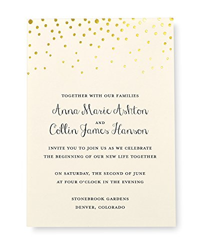"Gartner Studios Gold Foil Dots Print at Home Wedding Invitation Kit, Includes Response Cards, Ivory, 5"" x 7"" and 3.5"" x 5"", Set of 50"