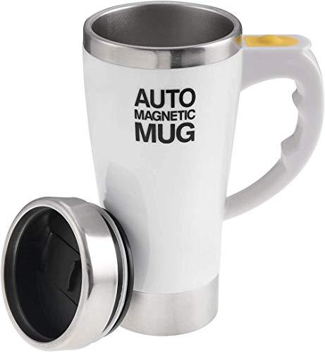 Eléctrico auto agitación taza de café, acero inoxidable Auto magnético taza auto mezcla taza café té leche cacao taza 450ml (blanco)