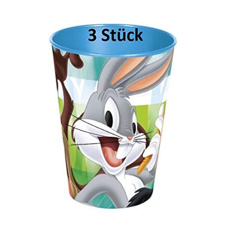 Familienkalender Disney Loony Toons - Juego de 3 vasos (265 ml), diseño de Bugs Bunny, Tweety, Duffy Duck, color azul