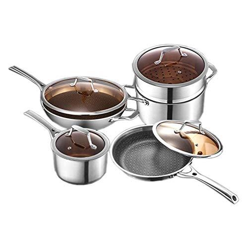 HIZLJJ Juego de utensilios de cocina de 4 piezas, juego de utensilios de cocina de acero inoxidable Combinación Sin humos, sartén antiadherente Juego de cuatro piezas, sartén wok, olla de sopa, olla d