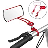 Jeemitery Bicycle Mirror,A Pair of 360°Rotation Back Rearview Mirror Handlebar Wide Angle Bike Mirror-Red