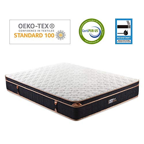 BedStory Double Mattress, 4FT6 Memory Foam Pocket Coil Sprung Hybrid Mattresses with Breathable Bamboo Fiber Cover, Medium Firm Double Bed Mattress in a Box, FR/OEKO-TEX Certified - 135 x 190 x28cm
