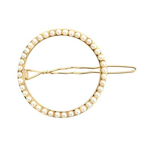 Haarnadel für Frauen – Fashion Moon Circle Shaped Faux Pearl Decor Hair Clip Hair Pin Frauen Kopfbedeckung Beste Geschenk für Freunde oder Familie