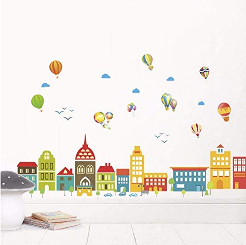 Diy Cartoon Castle Town Wandaufkleber, Pvc Kinderzimmer Klassenzimmer Wanddekoration, Vinyl Wandplakat Wandkunst Aufkleber, 3D Luftballon Wallpaper