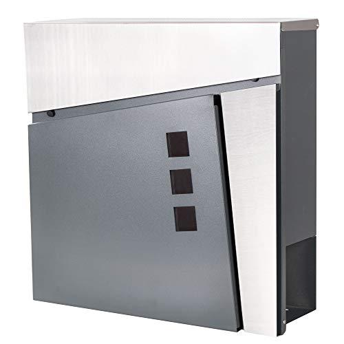 SPRINGOS Buzón con compartimento para periódicos, buzón de correos, 37,5 x 36,5 x 11 cm, color antracita mate, moderno, buzón de pared...