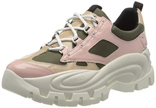 Liu Jo Shoes Damen Wave 01 Sneaker, Mehrfarbig (Olive/Pink S1306), 36 EU