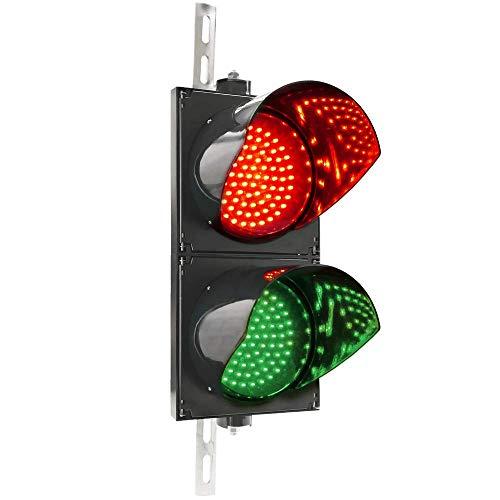 PrimeMatik - Verkeerslicht voor binnen en buiten IP65 zwart 2 x 200 mm 220 V met groene en rode LED-verlichting