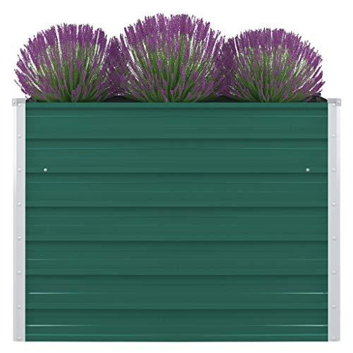 FAMIROSA Jardinera elevada de Acero galvanizado Verde 100x100x77 cm