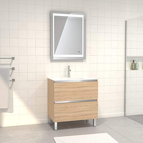 Pack de mueble de baño con lavabo de cristal blanco y espejo LED, 70 x 90 cm, 2 cajones, roble rubio