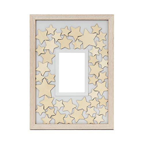 Lumaland Libro de Invitados Marco de Fotos con 75 Estrellas de Madera Personalizables en Diferentes tamaños