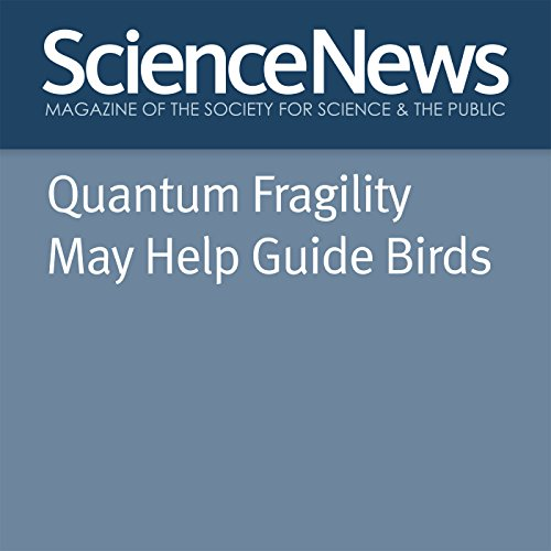 Quantum Fragility May Help Guide Birds                   By:                                                                                                                                 Emily Conover                               Narrated by:                                                                                                                                 Jamie Renell                      Length: 3 mins     Not rated yet     Overall 0.0