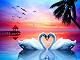 Wenye.Z DIY 5D Diamond Painting Kits for Adults,Paint with Diamonds by Numbers, Full Drill Diamond Dots Kit with Accessories, Wall Decor, Unique Birthday Gift,Swans (Size: 16X20 inch)