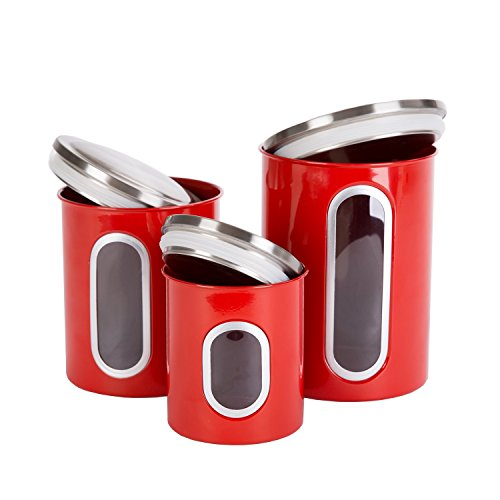 THRICH Airtight Multi-purpose Kitchen Canisters with Fingerprint Resistance Food Grade Stainless Steel Lid, Crystal Clear Visual Window, Set of 3, Sizes Including 1 each 41oz, 85oz, and 129oz (Red)