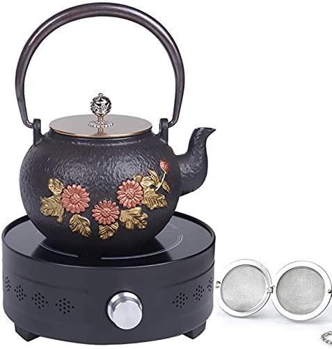DZCGTP Tetera, Tetera Japonesa de Hierro Fundido, artesanías Retro de Salud con Filtro de Acero Inoxidable y Calentador de Estufa de cerámica eléctrica de 1,2 l