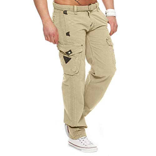 Gaowen - Pantalones de deporte para hombre, casual, elásticos, con bolsillos, pantalones de carga, XXL