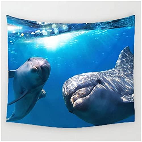Tapiz by BD-Boombdl Tapiz de fondo de arte de pared decorativo de delfines oceánicos para colgar en la pared decoración del dormitorio del hogar 59.05'x39.37'Inch(150x100 Cm)