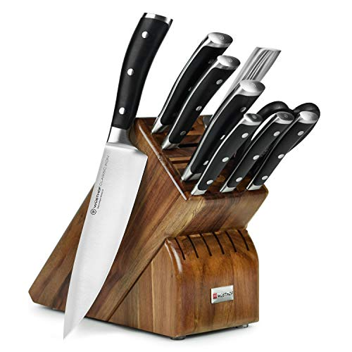 WÜSTHOF Seven Acacia Block 7-Piece German Set | Precision Forged High Carbon Stainless Steel Kitchen Knife, 15 Slot Wood, Model 8347-6