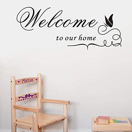 Ebay Bienvenido a nuestra casa Letras vinilo adhesivo de pared Calcomanía citas decorativas decoración del hogar Bienvenido a nuestra casa 60x16cm