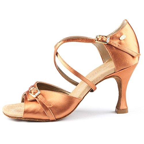 PortDance Mujeres Zapatos de Baile PD636 Premium - Satén Dark Tan - 5 cm Flare [EUR