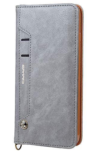 HARRMS Handyhülle Handytasche Apple iPhone 7 Plus/8 Plus mit Kartenfach Kredit Karten Geldklammer Hülle Kunst Leder Handy Schutzhülle