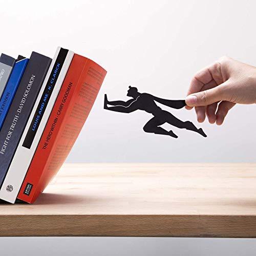 Product Image 3: Decorative Bookends for Shelf or Desk – Black Metal Book Ends – Superhero Bookend – Book Ends for Office – Cool Super Hero Book Stopper / Book Holder / Shelf Dividers – Book & Hero by Artori Design