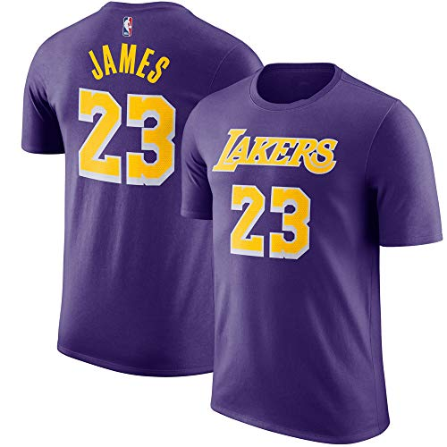 Outerstuff NBA Youth Performance Game Time Team Color Player Name and Number Jersey T-Shirt (Medium 10/12, Lebron James Los Angeles Lakers Purple)