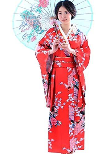 Botanmu Frauen Kimono Robe Japanische Kleid Fotografie Cosplay Kostüm 5 Farben (Rot)