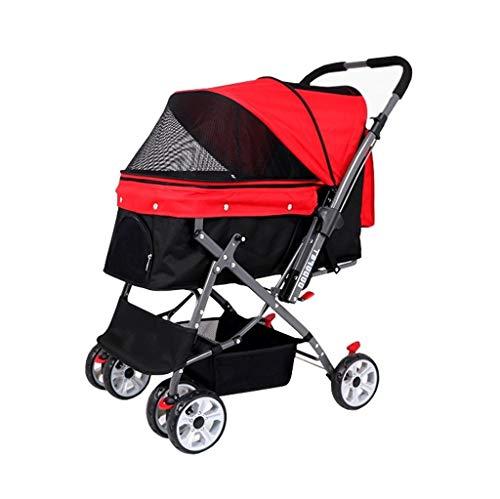 Honden kinderwagen, buggy wagen huisdier buggy drager reis buiten uitlopende wagen 4 wielen kat universeel opvouwbaar voor middelgrote honden rood