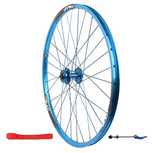 Bicicleta de Montaña Rueda Delantera,32 Hoyos Pared Doble Aleación De Aluminio Freno de Disco Bicicleta Rueda Única (Color : Blue, Size : 26inch)