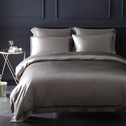 Orose 4Pcs 25MM Silk Sheets Set 100% Charmeuse Mulberry Silk Bed Sheet Set,Seamless,Thick, Heavy Silk,Deep Pocket (Metal Grey, King)