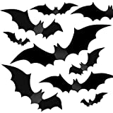 Halloween Party Indoor Outdoor Decor Supplies, 56 PCS Reusable PVC 3D Decorative Scary Bats Wall Sticker Comes with Double Sided Foam Tape
