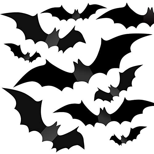 Halloween Decorations - Halloween Party Indoor Outdoor Decor Supplies , 56 PCS Reusable PVC 3D Decorative Scary Bats Wall Sticker Comes with Double Sided Foam Tape