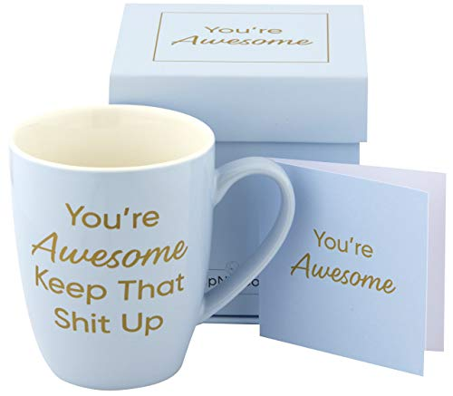 Inspirational Blue Coffee Mug With 'You Are Awesome, Keep That Up' Quote, Motivational Gift for Women, Elegantly Boxed with Card and Envelope, Durable, Dishwasher & Microwave Safe (Blue)
