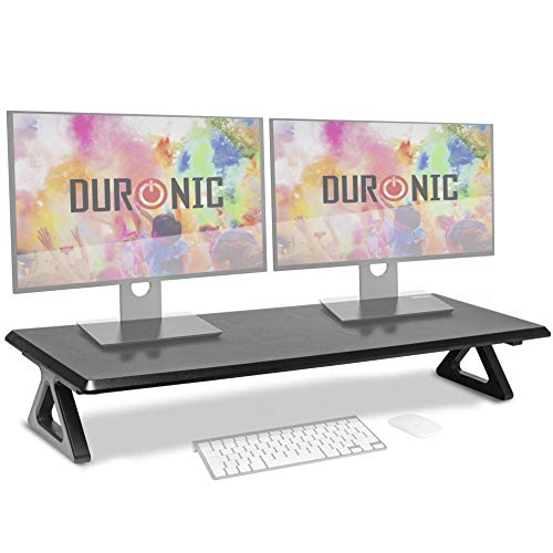 Duronic Monitor Stand Riser DM06-2 | Laptop and Screen Stand for Desktop | Black MDF | Support for a TV Screen or PC Computer Monitor | Ergonomic Office Desk Shelf | 10kg Capacity | 82cm x 30cm