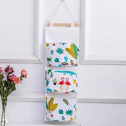 WAINIDE Cotton and Hemp Bags Hanging Wall Multi-Storey Bags Hanging Bag Fabric Hanging Bag Dormitory Pocket,50 * 35cm,Tripod-White Bird