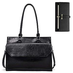 CLUCI Briefcase for Women Oil Wax Leather Vintage 15.6 Inch Laptop Business Shoulder Bag Leather Wallet for Women Slim Clutch Purse Long Designer Trifold Ladies Credit Card Holder Organizer Black 5
