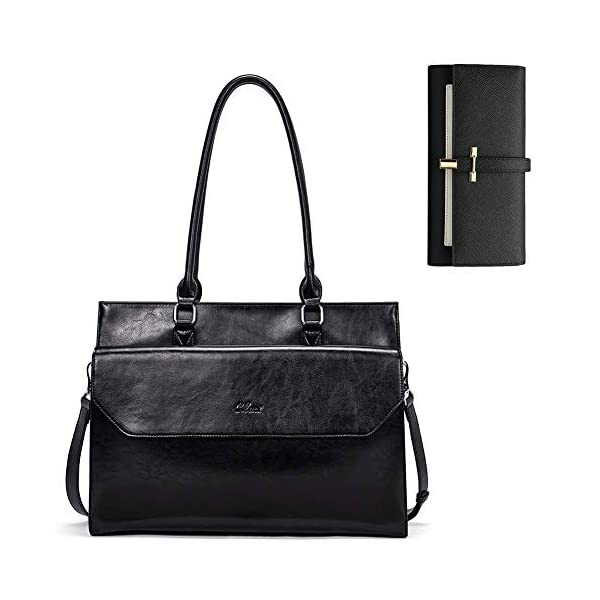 CLUCI Briefcase for Women Oil Wax Leather Vintage 15.6 Inch Laptop Business Shoulder Bag Leather Wallet for Women Slim Clutch Purse Long Designer Trifold Ladies Credit Card Holder Organizer Black 1