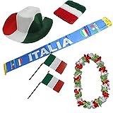 Sonia Originelli Fan-Paket Italien Italy Italia WM EM Fußball Schal Hawaiikette Hut Schweissband Fahne Flagge
