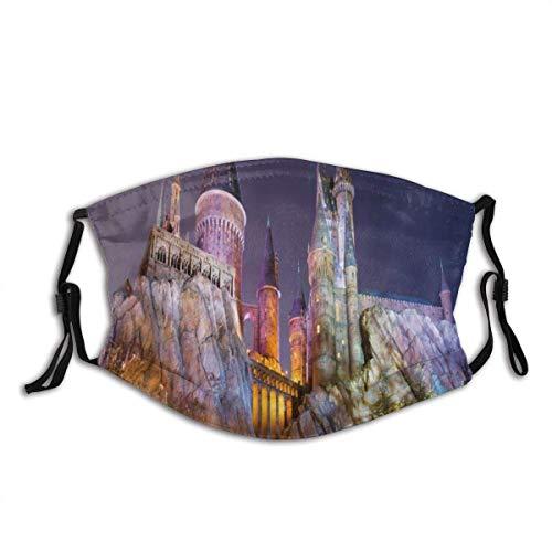 Mundschutz Landschaft verträumte Antike Mittelalter inspirierte Prinzessin Castle in der Nähe von Lake Stones Moss Gesichtsbedeckung Waschbarer wiederverwendbarer Mund Bandana Hals Gamasche Männer