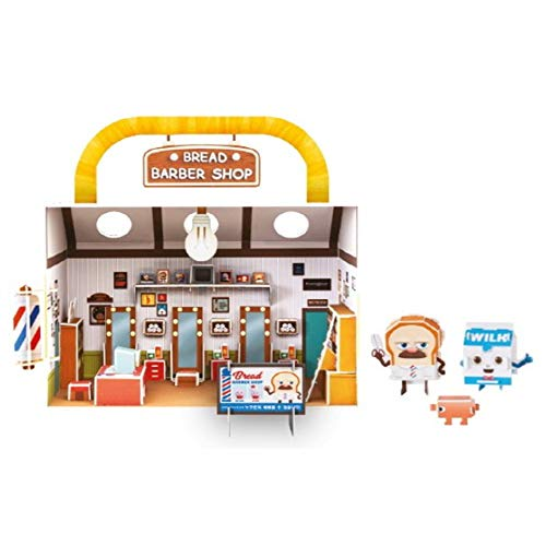 Bread Barbershop Lighted Miniature DIY Set, Formpod Miniature Set Make Kit with Furniture & Characters, TV Character Item for Christmas Birthday Boys Girls Toy Figure