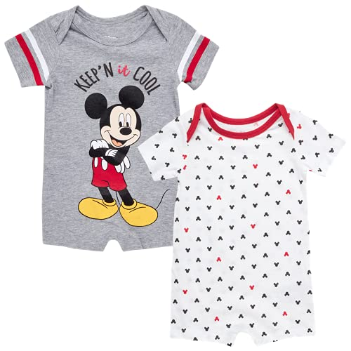 Disney Baby Boys' Mickey Mouse 2 Pack Short Sleeved Romper with Snap Closure (Newborn/Infant), Size 6-9 Months, Charcoal Micket Stripe