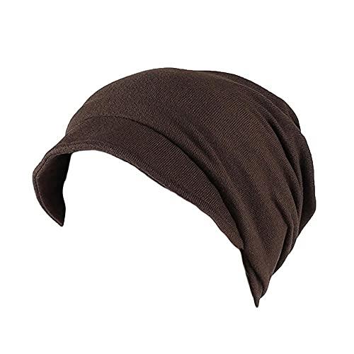LULUZ Women's Baggy Head Cap Soild Color Muslim Stretch Turban Hat Ladies Autumn Camouflage Hair Loss Head Scarf Wrap