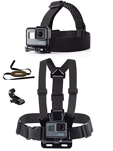 micros2u (Twin Pack) Chesty Harness Gürtelhalterung und Kopfband (mit abnehmbarem Kinnriemen). Kompatibel mit Gopro Hero 8, 7, 6, 5, 4, 3, 2. Sitzung. SJCam, Actionkameras.