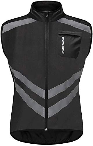 Reflecterende Vest Loopwerk for mannen - Ultralight & Comfy - Motorcycle Hi Viz Safety Vest met rits, winddicht MTB Fiets Gilet (Color : Black, Size : L)