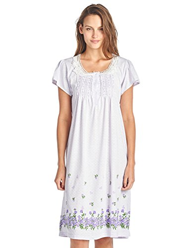 Casual Nights Women's Fancy Lace Flower Short Sleeve Nightgown - Pink - X-Large