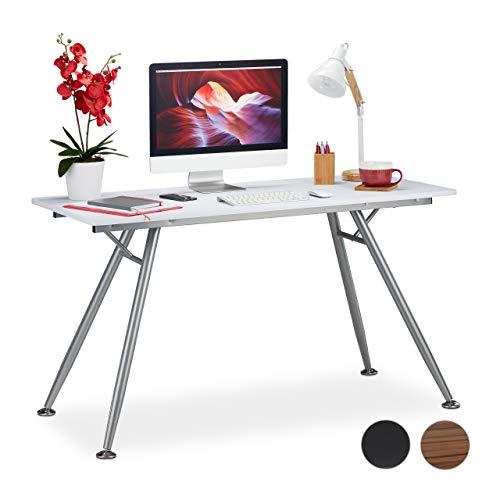 Relaxdays Schreibtisch, modernes Design, für Jugendzimmer & Büro, große Arbeitsfläche, HBT: 77 x 135 x 60 cm, weiß